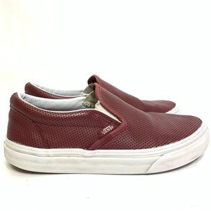 Vans in Burgundy Perforated Leather
